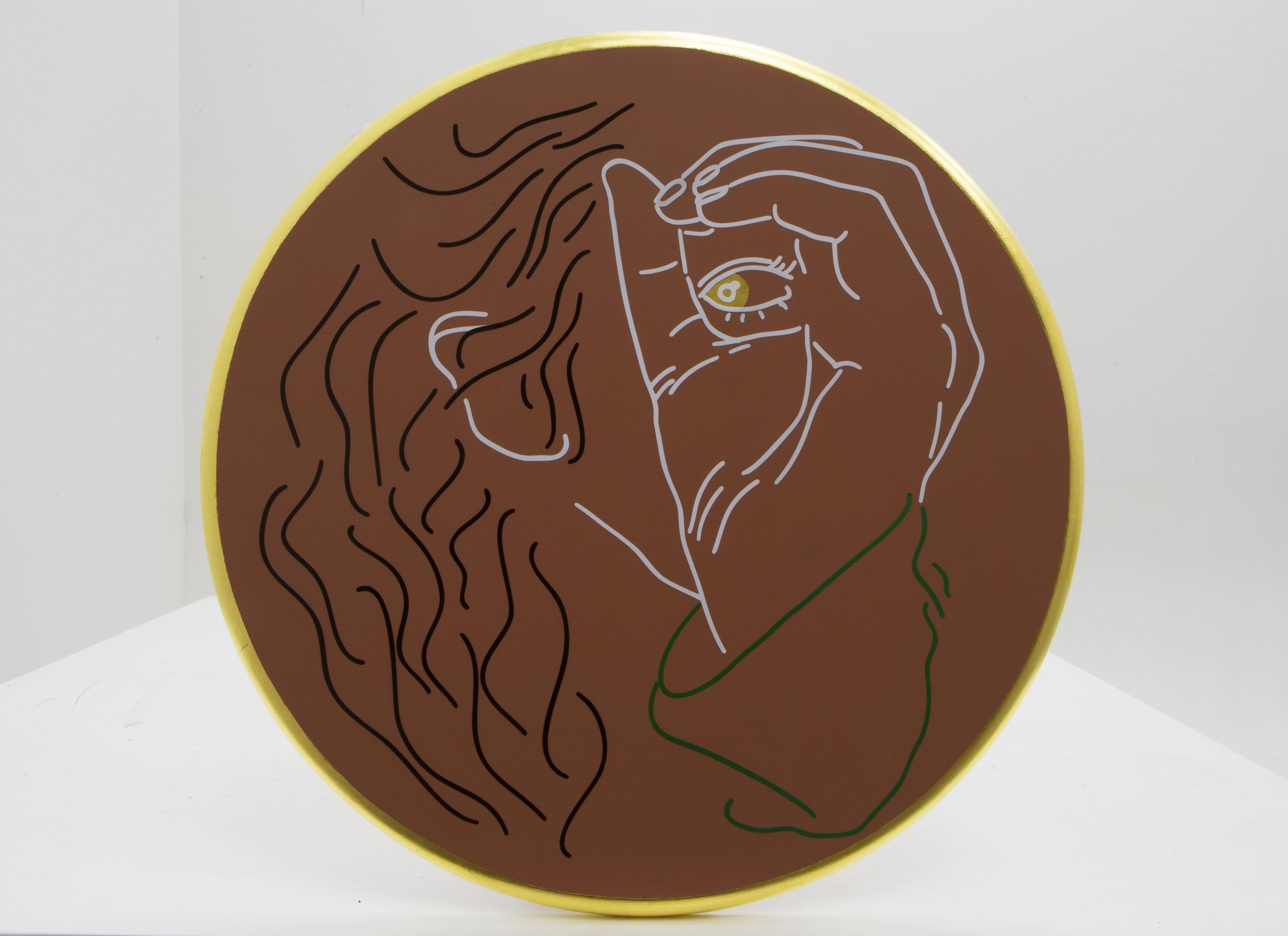 Hannah Bartman |  Cyclops |  Gold Leaf, Vinyl, Acrylic 16x16 SOLD