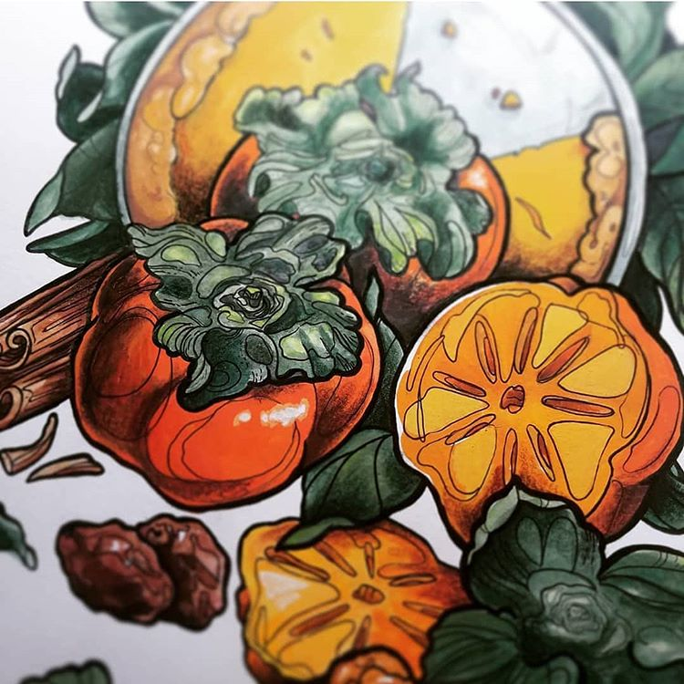 Lindsay Tebeck |  Persimmon Pie |  Gouache & Ink 14x18 (framed) $210.00
