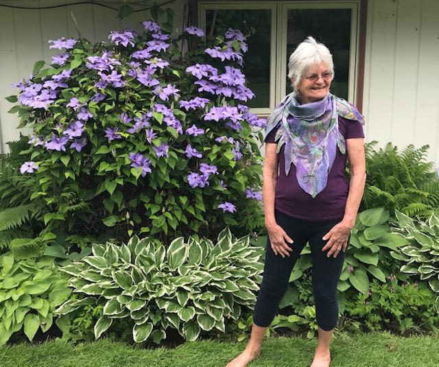 Purple Margilan Silk/Multicolor Margilan Silk Triangle Scarf/Superfine Merino & Silk Prefelt Design $285