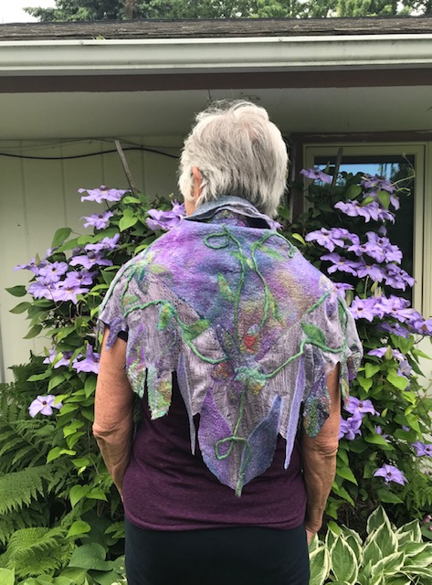 Purple Margilan Silk /Multicolor Margilan Silk Triangle Scarf/Superfine Merino & Silk Prefelt Design $285