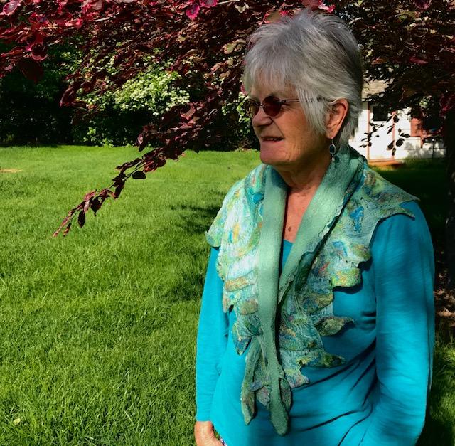 Green Margilan Silk Triangle Scarf / Superfine Merino & Silk Prefelt Design $270
