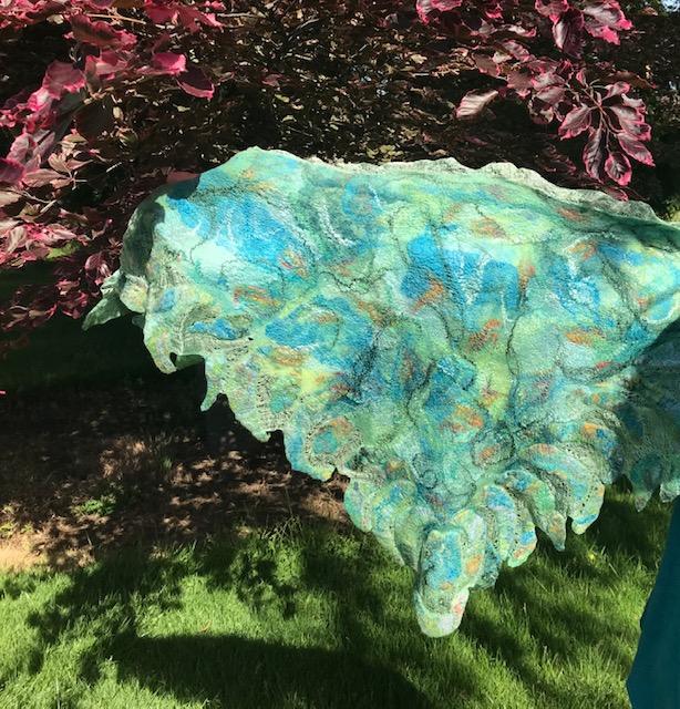 Green Margilan Silk Triangle Scarf / Superfine Merino& Silk Prefelt Design $270