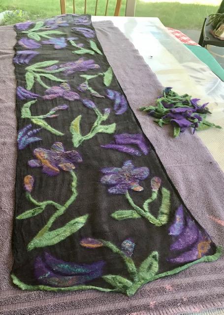 Black Margilan Silk/ Superfine Merino & Silk Iris Prefelt Design Scarf $210