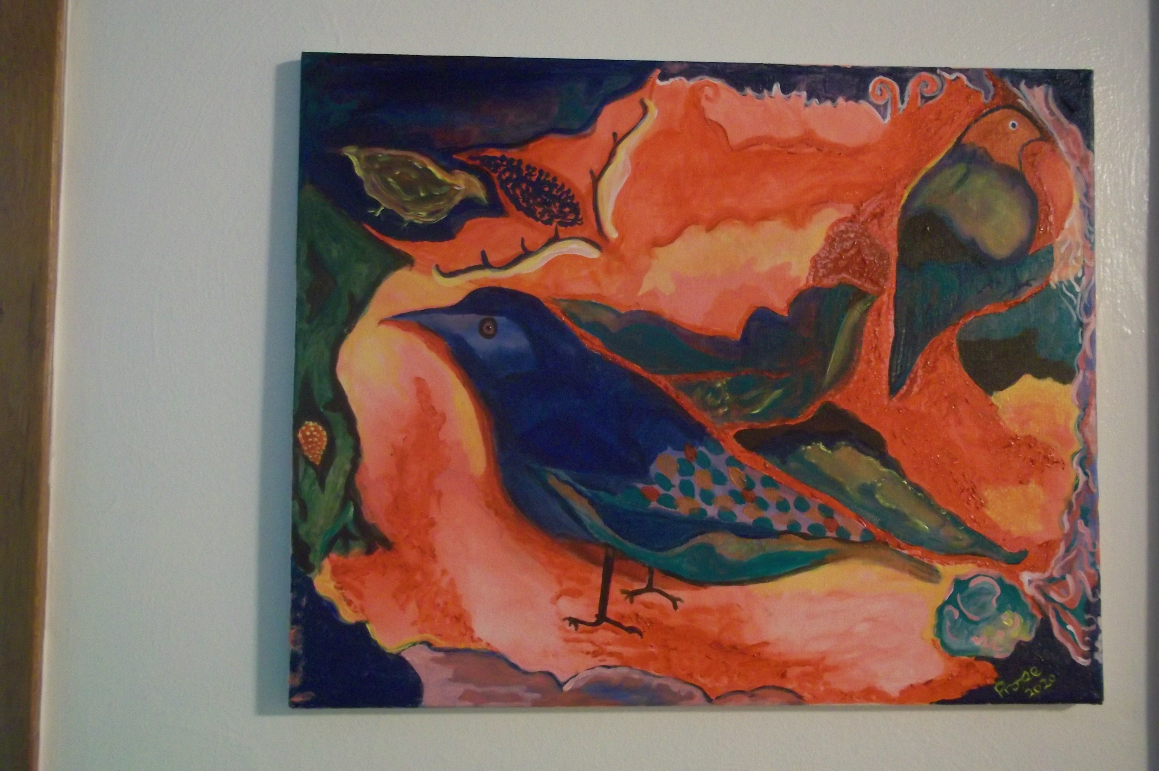 Birds in a Flower -  (acrylic)  16 x 20 - $250