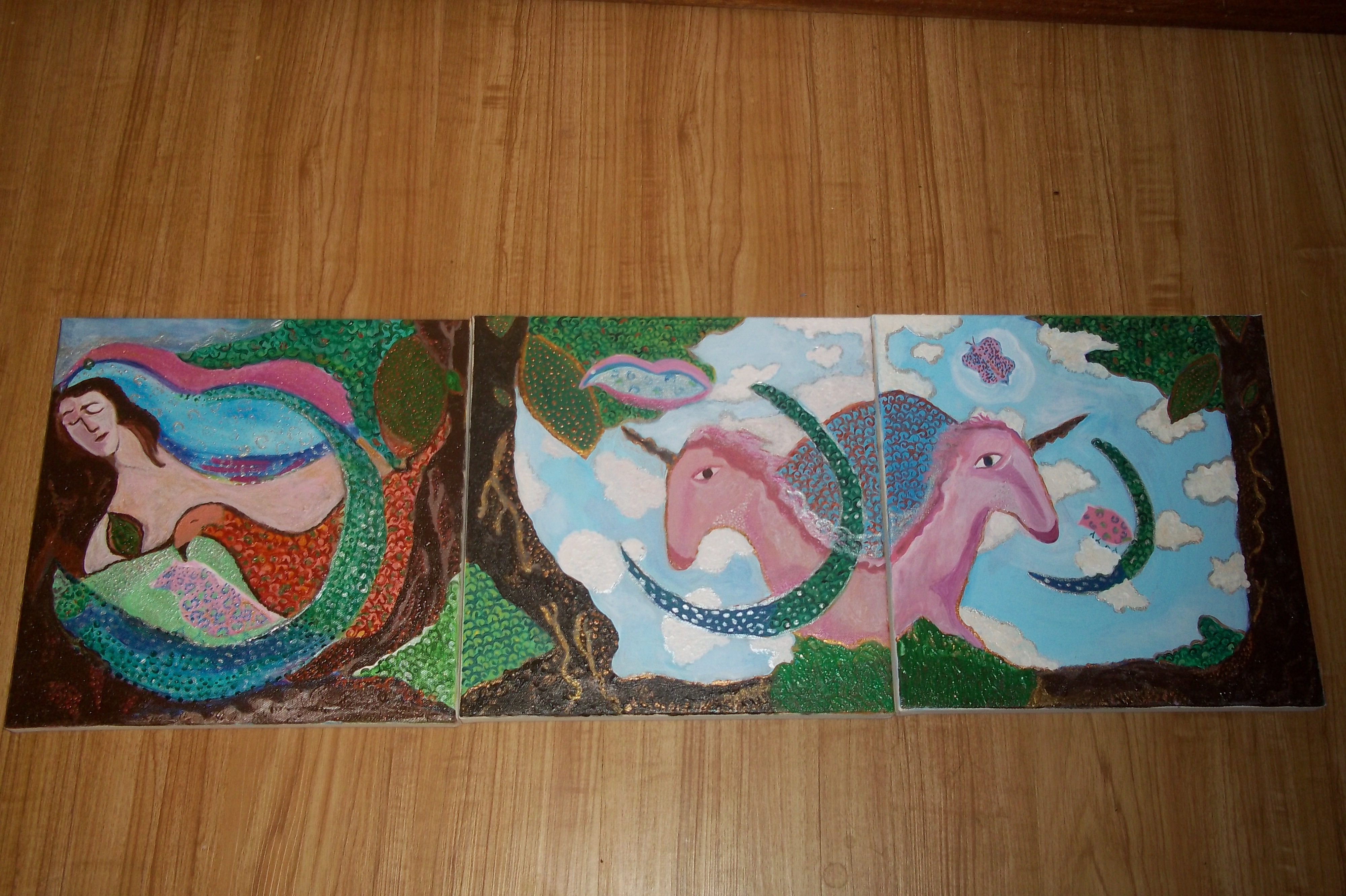 I dreamed I was a unicorn (acrylic) (triptych) -12 x 36 -  $325 for all three or $125 separately
