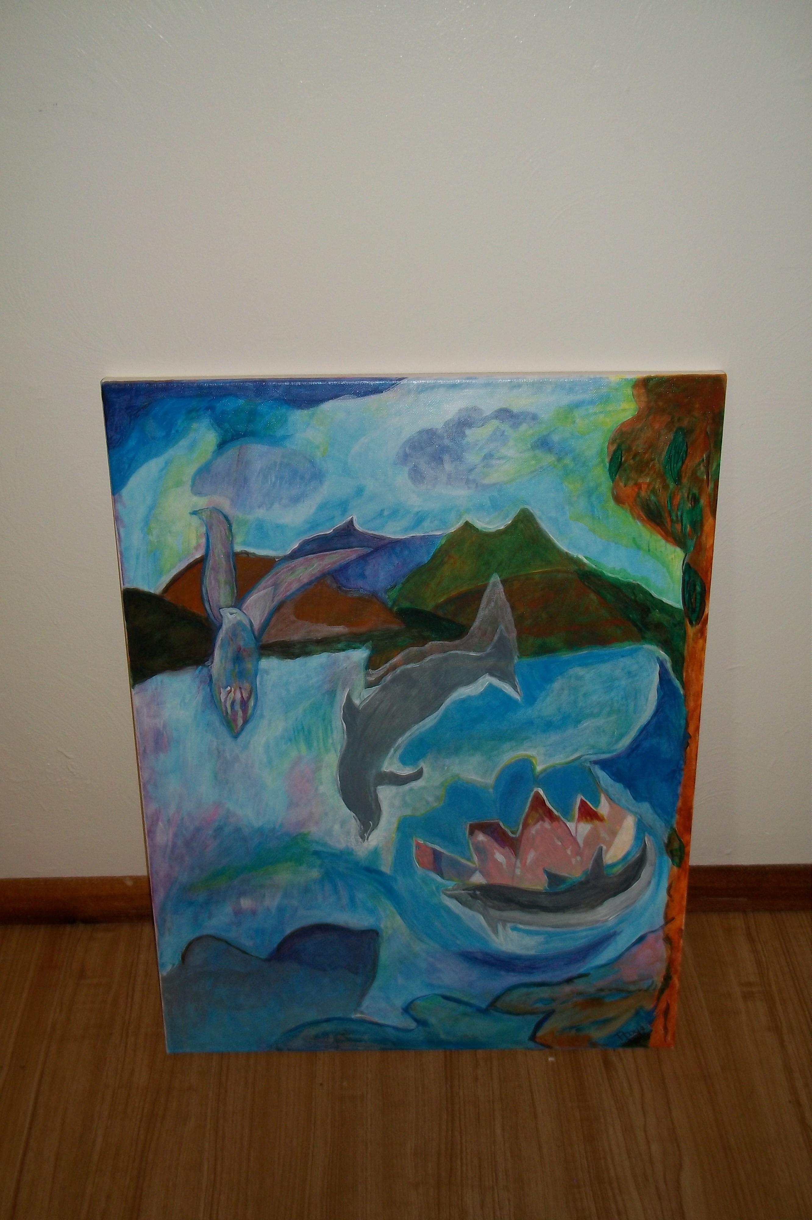 Dolphins journey (acrylic) - 18 x 24 - $300